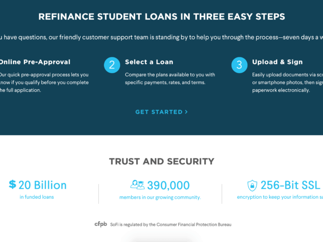 This image is used to help showcase the current lender offerings offered by Sofi.