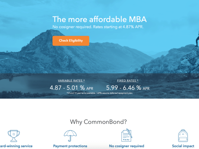 This image is used to help give users a better idea about the values and offerings of CommonBond Private.