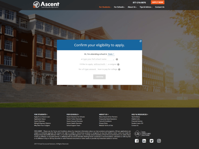 This is a screenshot of the Ascent Independent website specifically showcasing the eligibility criteria.