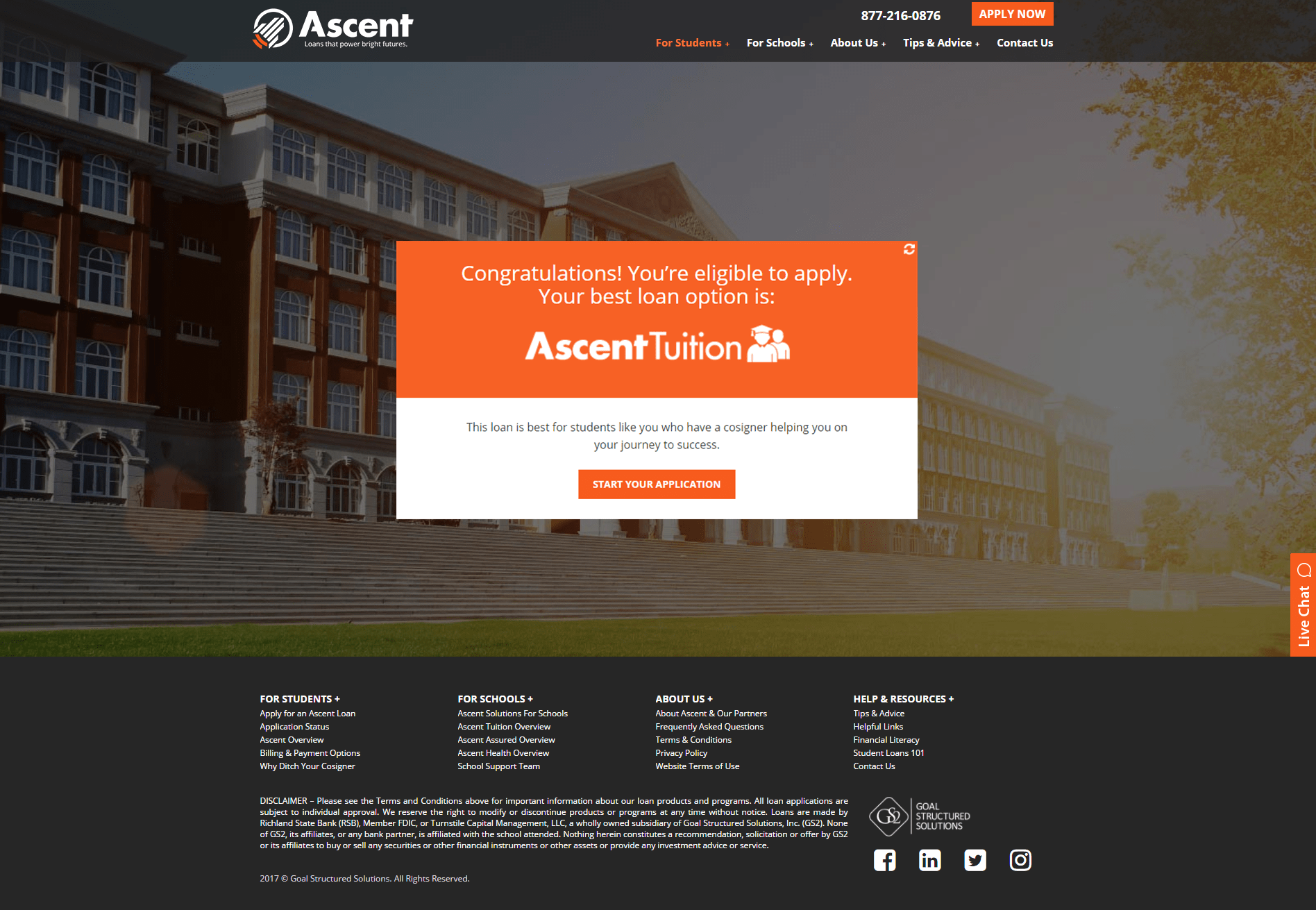 This is a screenshot of the Ascent Tuition website.