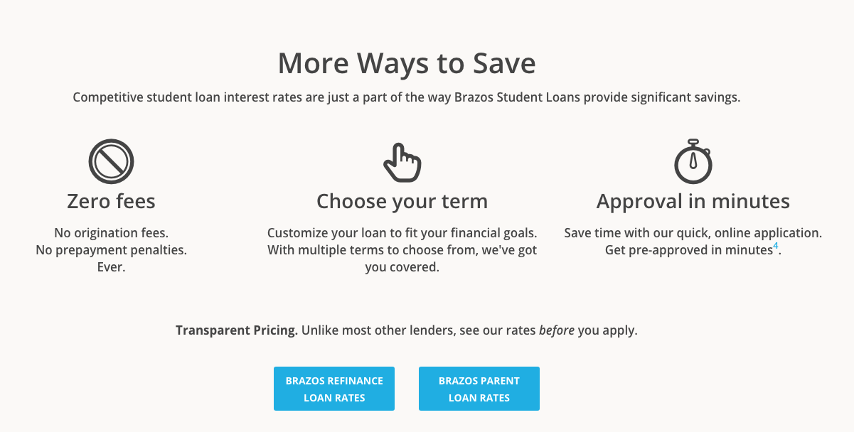 This image is used to help display lender information regarding Brazos Higher Eduzation.